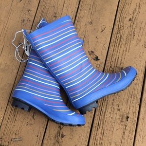 Cat & Jack Blue Striped Rain Boots